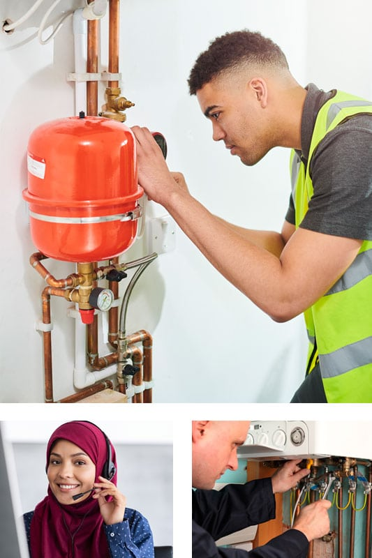 A collage comprising of a man fixing a boiler, lady on the phone and an engineer servicing a boiler. Quality plumbing and heating London.